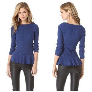 Tory Burch   XS   Blue Ramona peplum wool sweater